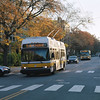 A MBTA Route 71 Trackless Trolley with Route 73 bus following on Mt Auburn Street In Cambridge. Of the three trackless trolley routes in Cambridge, only the 71 is presently operating as road construction has caused routes 72 & 73 to be converted to diesel buses. Taken with Pentax 67 on Porta 400.