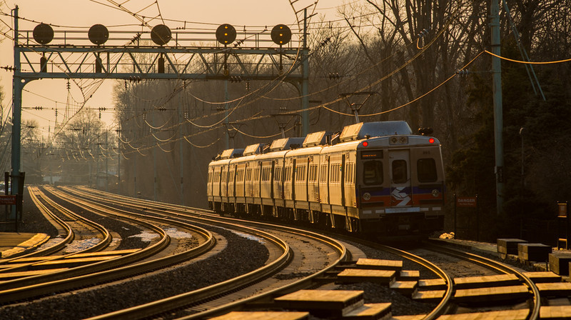 An outbound SEPTA train departs Narberth on the Main Line between Phiadelphia and Harrisburg.