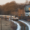 Amtrak 406 leads the Downeaster ten miles from Boston on MBTA Lowell Line.