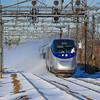 Amtrak 2257 throws the snow off through Readville on Sunday, January 24th, 2016.