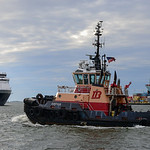 The tug Justice heads to East Boston after bringing the MSC Kolkata to Conley Terminal.